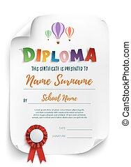 diploma, plantilla, con, aire, balloons.