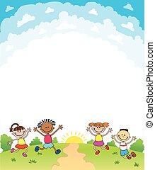 diploma, plantilla, diseño, certificado, plano de fondo, niños