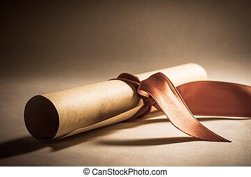 diploma, rotolo, con, nastro, -, vendemmia