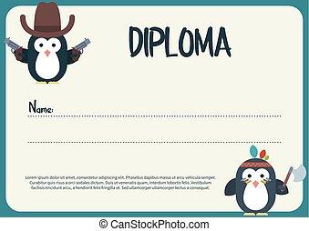 diploma, sagoma, con, appartamento, pinguini, caratteri, stilizzato, come, uno, cowboy, e, nativo, american.