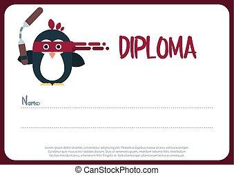 diploma, sagoma, con, appartamento, pinguino, carattere, stilizzato, come, uno, ninja.