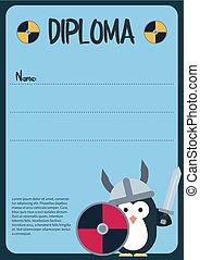 diploma, sagoma, con, appartamento, pinguino, carattere, stilizzato, come, uno, viking.