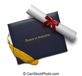 Diploma Scroll and Tassel - Blue Diploma of Graduation Cover...