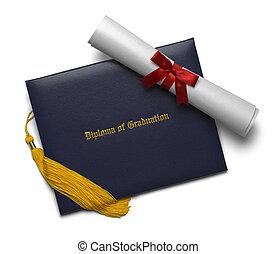 diploma, scroll, e, tassel