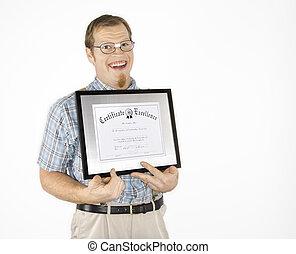 diploma., segurando, homem