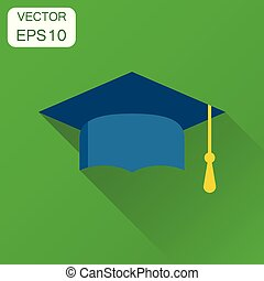 Diploma student cap icon. Business concept finish education hat pictogram. Vector illustration on green background with long shadow.