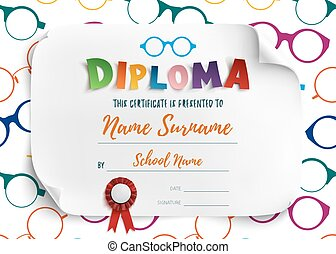 Diploma template for children.