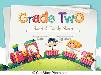 Diploma template for grade two
