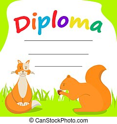 Diploma template for kids.Cartoon character cat and squirrel with a nut.