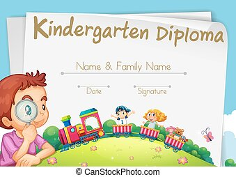 Diploma template for kindergarten students