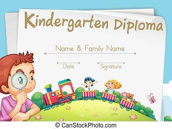 Diploma template for kindergarten students