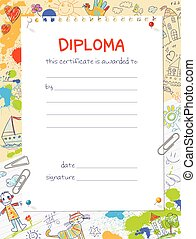 Diploma template in the style of children's drawings