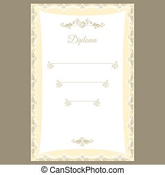 Diploma template or certificate frame, border design
