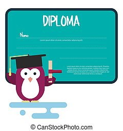 Diploma template with flat penguin character stylized as a student.