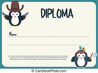 Diploma template with flat penguins characters stylized as a cowboy and native American.