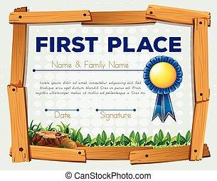 Diploma template with garden bacground
