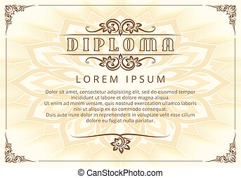 Diploma template with Thai design elements