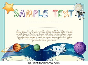 Diploma with astronomy book background illustration