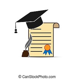Diploma with graduation cap, inkwell and pen