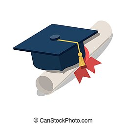 diploma with graduation hat isolated icon