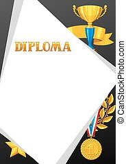 Diploma with realistic gold awards. Certificate for sports or corporate competitions