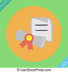 Diploma wrapped with ribbon - vector illustration