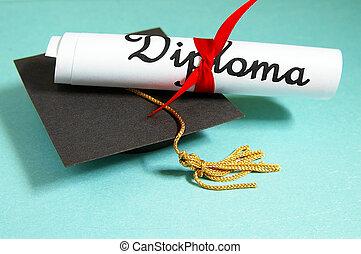 diploma, y, grad, gorra