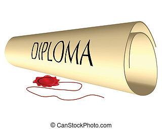diploma, y, sello de lacrar