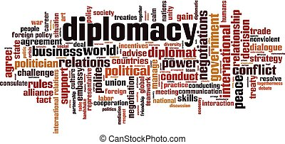 Diplomacy word cloud concept. Collage made of words about diplomacy. Vector illustration