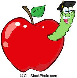 diplomado gorra, manzana, rojo, gusano