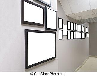 diploma's, en, prijzen, in, de, kader, hangen, op, de muur