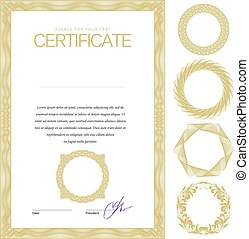 diploma's, vector, currency., certificaat., mal