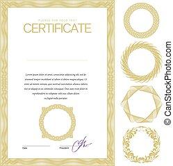diploma's, vector, currency., certificaat., mal