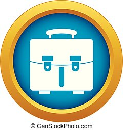 Diplomat bag icon blue vector isolated
