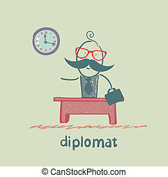 diplomat sitting at a desk