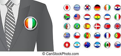 diplomate, blanc, écusson, drapeau, fond