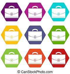 diplomate, icône, ensemble, couleur, hexahedron