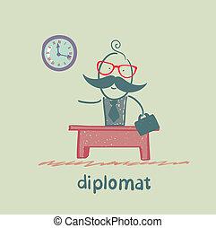 diplomate, séance, à, a, bureau
