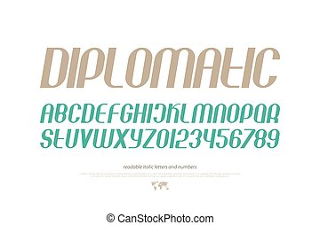 diplomatic - set of inclined alphabet letters and numbers. ...
