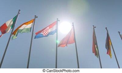 diplomatie, vent, coloré, concept, lent, drapeaux, battement des gouvernes, -, mouvement
