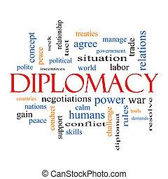 diplomatie, woord, wolk, concept