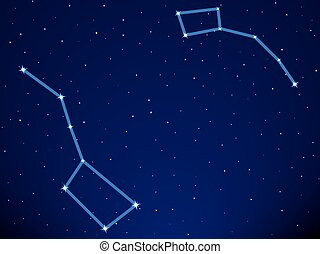 Dippers - Illustration of the Big Dipper and Little Dipper...