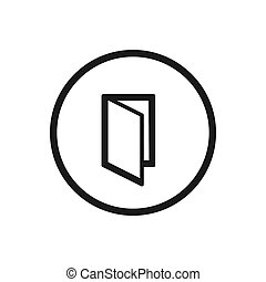 Diptych line icon with a circle on a white background