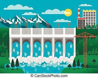 dique de agua, colinas verdes, ilustración