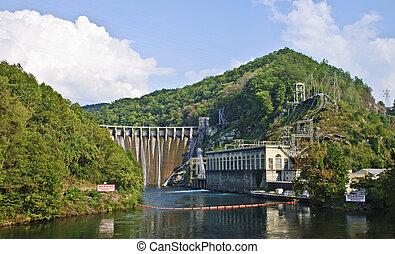 dique, hidroeléctrico, montañas
