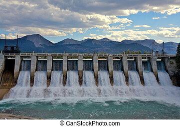 dique, hydro, spillway
