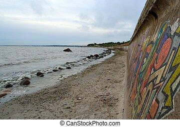 dique, ligado, litoral, em, mar báltico
