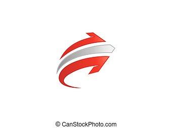 direção, abstratos, vetorial, seta, logotipo