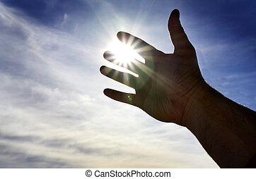direção, ajuda, procurar, luz, alcançar, mão, céu