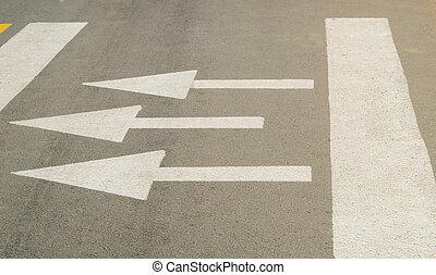 direção, asfalto, sinal, seta, mostra, estrada, movimento